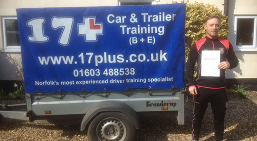 Passed learner using our trailer training in Norwich, Norfolk
